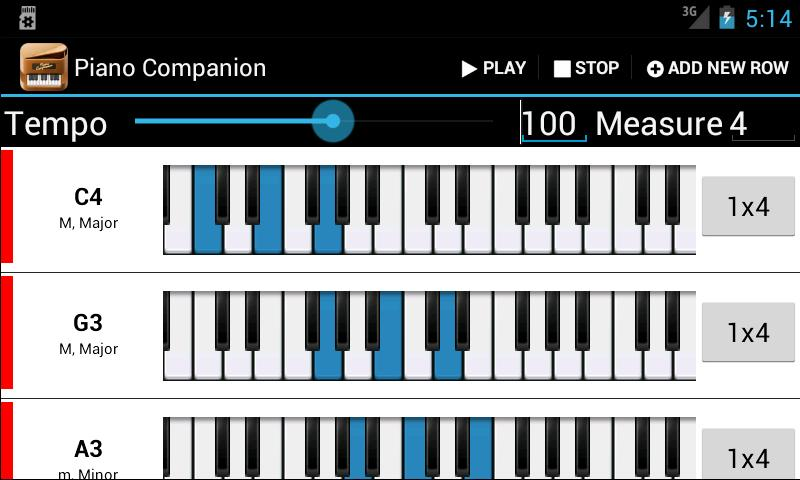 Soundroid con piano companion accordi e scale sono a for Software di piano planimetrico
