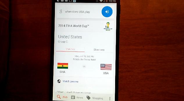 Mondiali 2014 Google Now