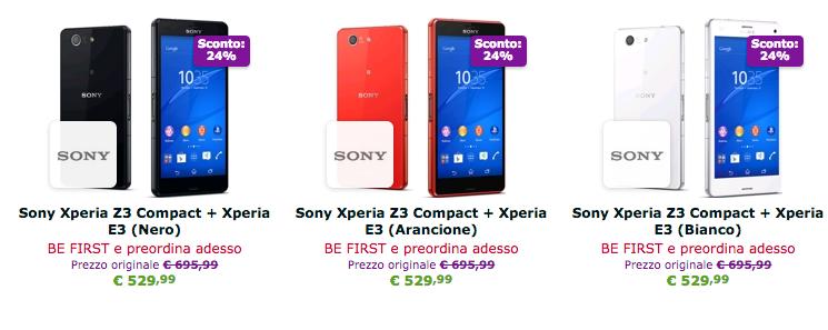 Xperia E3 Xperia Z3 Compact