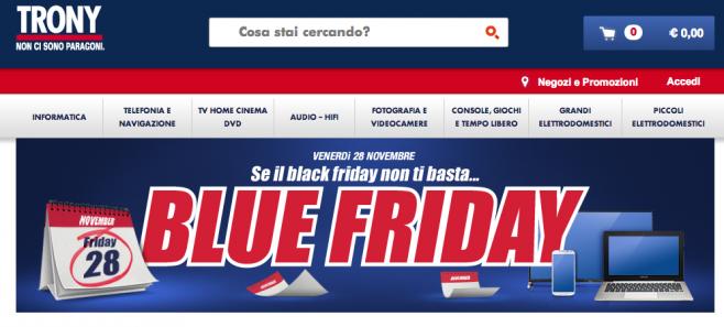 Trony apre i suoi sconti in occasione del blue friday for Black friday televisori