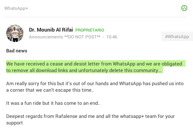 WhatsApp Plus chiude